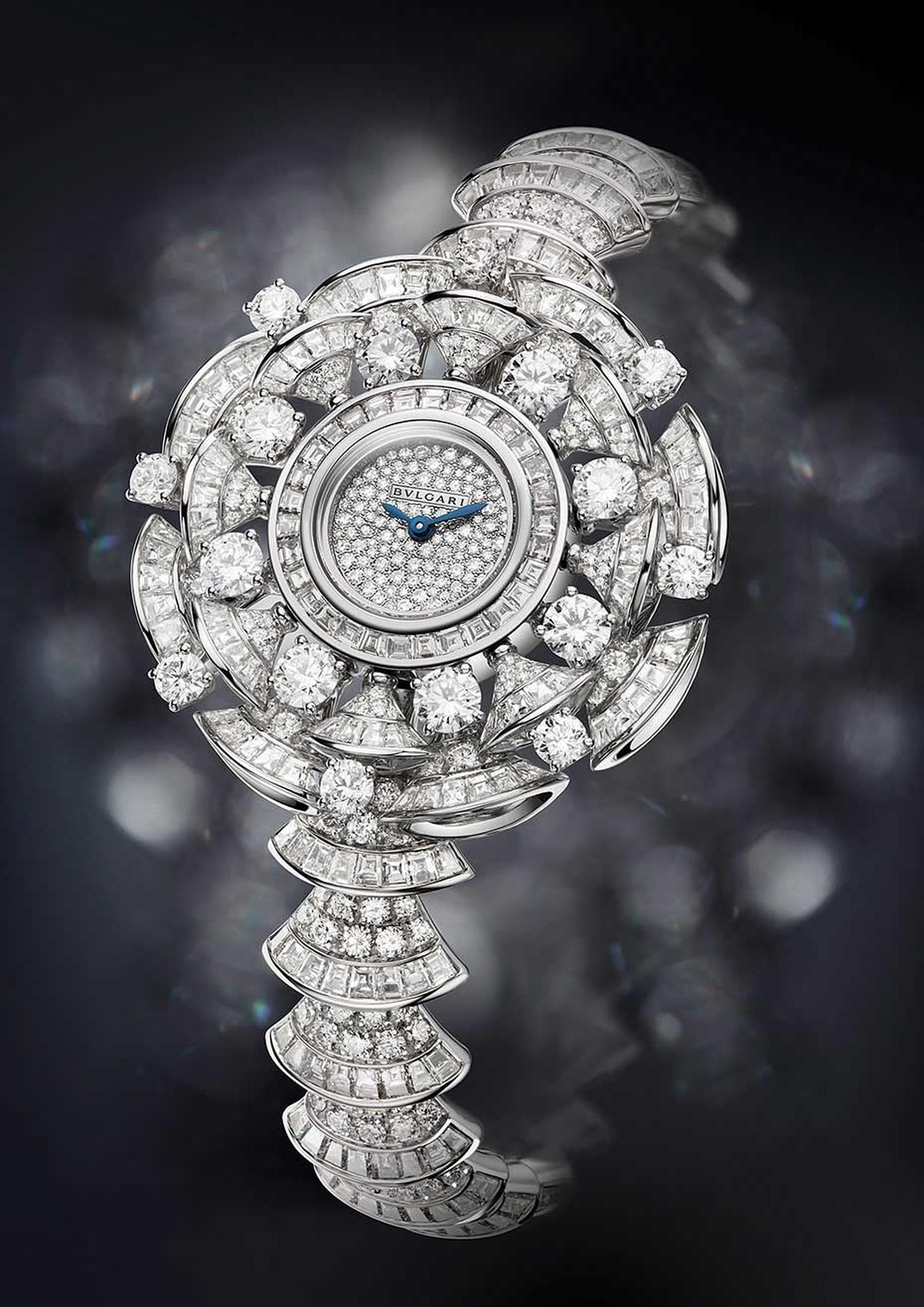 Bulgari Diva watch features 302 baguette-cut diamonds, 16 round-cut diamonds and 394 brilliant-cut diamonds adding up to 22.62ct.