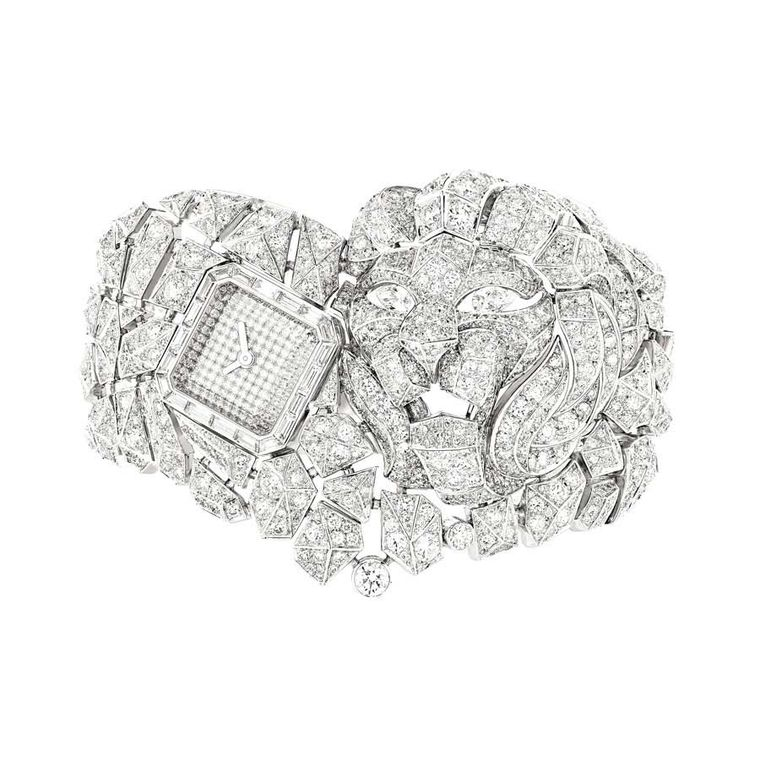 Chanel 'Miol Mosaique' watch in white gold, from the Sous le Signe du Lion collection, set with 1,530 fancy-cut diamonds and two pear-cut diamonds.