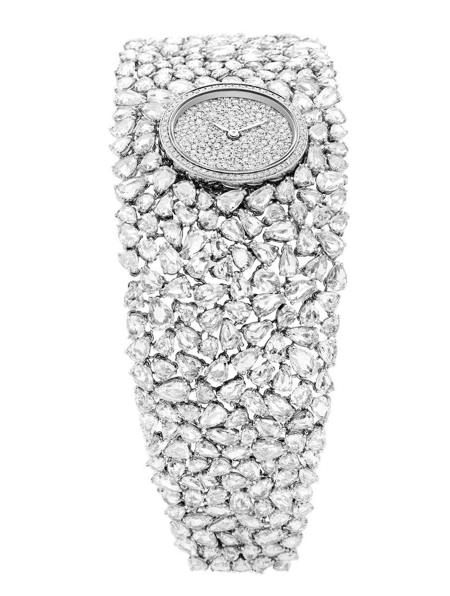 DeLaneau Grace Pear Diamonds jewellery watch in white gold, set with 351 pear-cut diamonds on the bracelet and a further 268 diamonds on the dial and case.