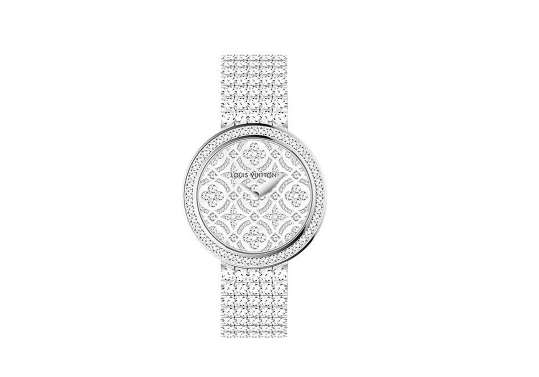 Louis Vuitton Dentelle de Monogram watch with a diamond-set dial and bezel and an all-diamond 'rivière' bracelet.