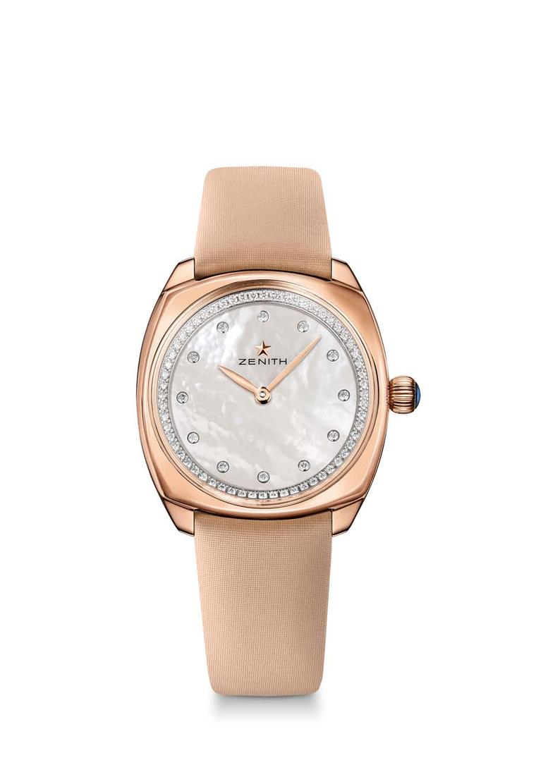 Perfect day wear: the 33mm Zenith Star watch in rose gold with a white mother-of-pearl dial set with diamond hour markers and an inner bezel adorned with 72 brilliant-cut diamonds.