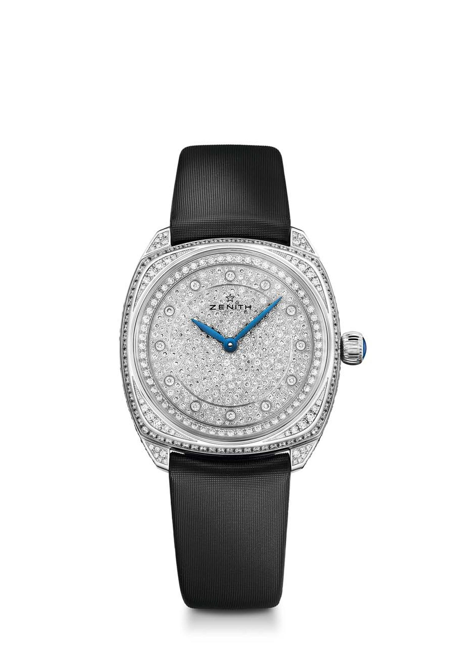 For maximum impact there is the stunning full-set white gold 33mm Zenith Star watch, set with a total of 765 diamonds on the dial, bezel, lugs, case and clasp.