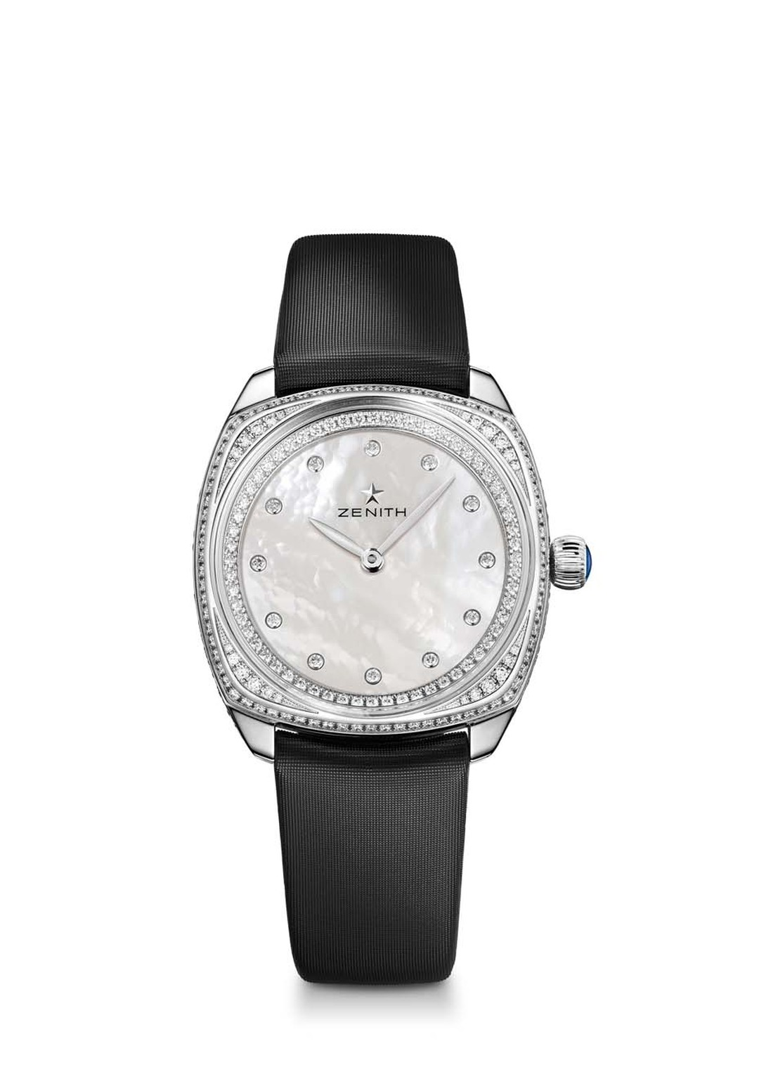 Taking the carat weight up a notch, with 72 brilliant-cut diamonds on the dial, 104 on the bezel and a further 42 on the buckle, the new 33mm Zenith Star watch in white gold will light up your most glamorous nights.