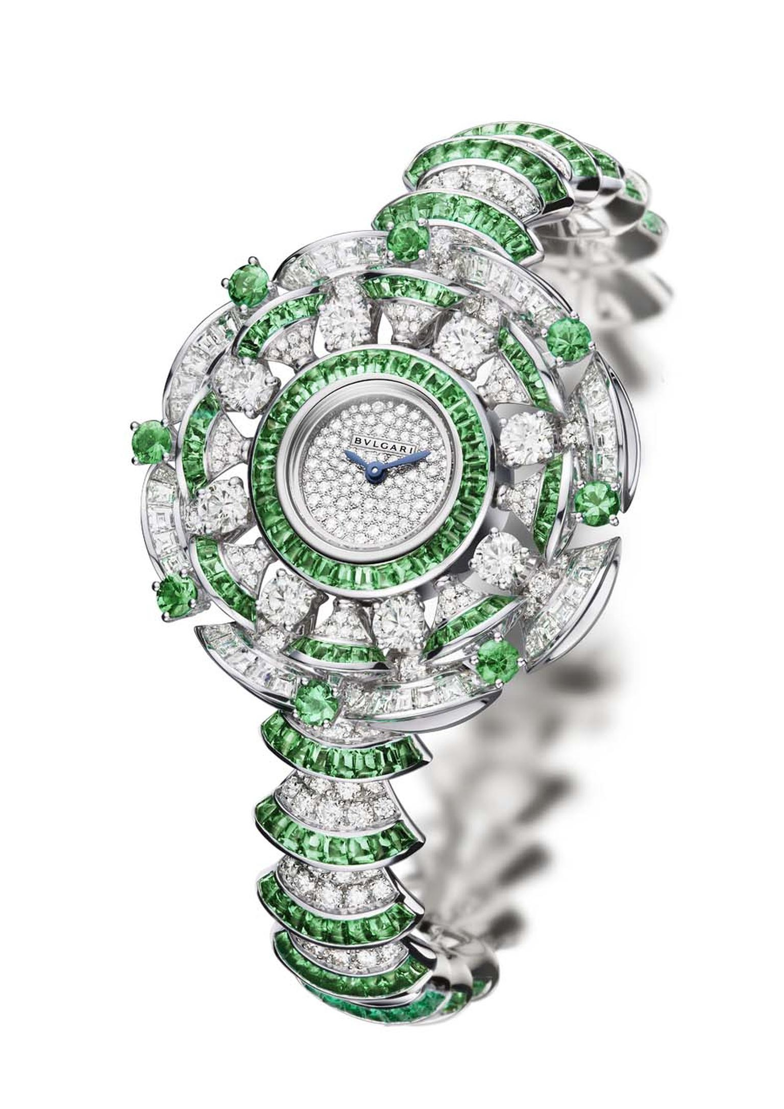 The newest version of the Bulgari Diva watch features a combination of diamonds and emeralds.