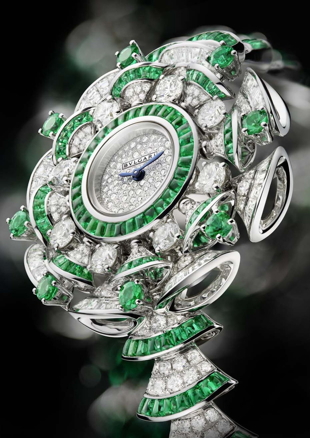 Bulgari Diva watch with emeralds and diamonds.