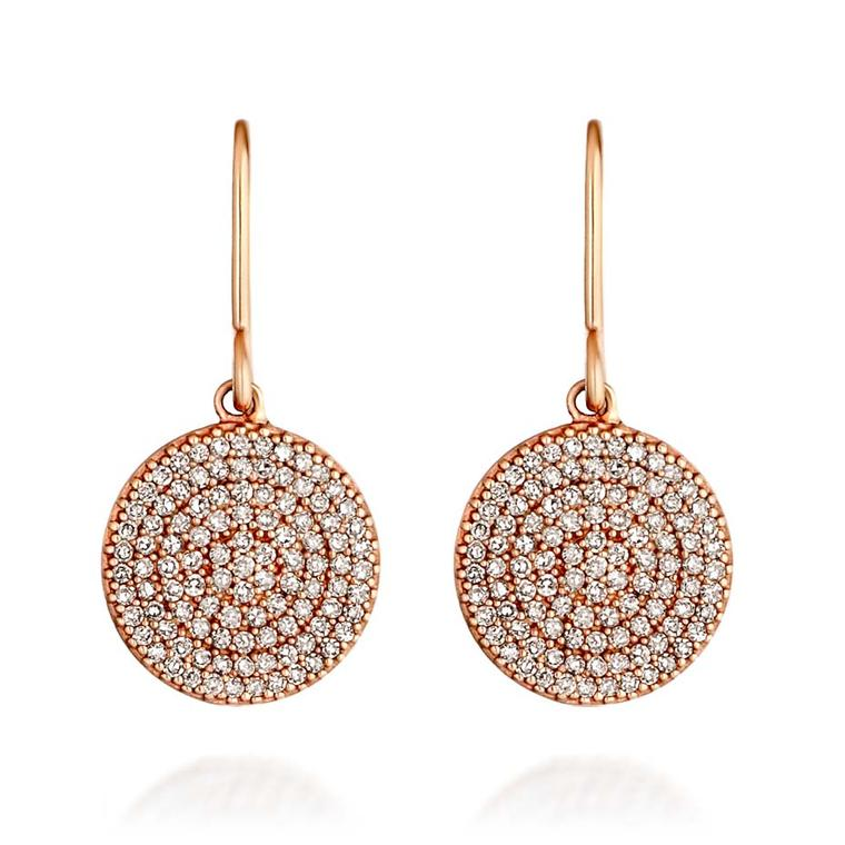 Astley Clarke Muse collection Icon earrings in rose gold with silver grey diamonds.