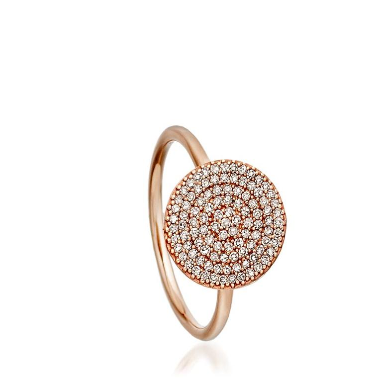 Astley Clarke Muse collection Icon ring in rose gold with silver grey diamonds.