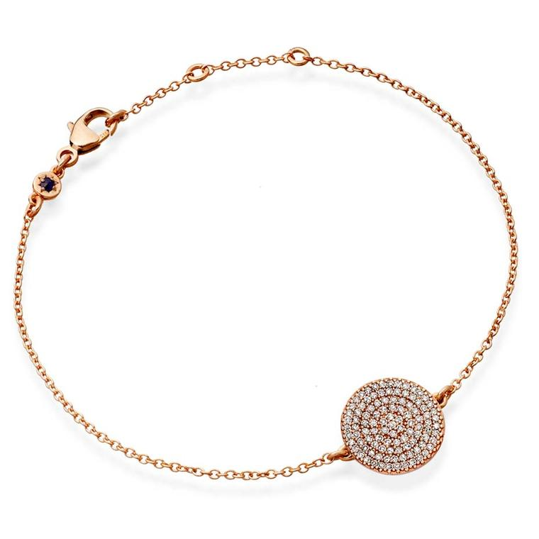 Astley Clarke Muse collection Icon bracelet in rose gold with silver grey diamonds.