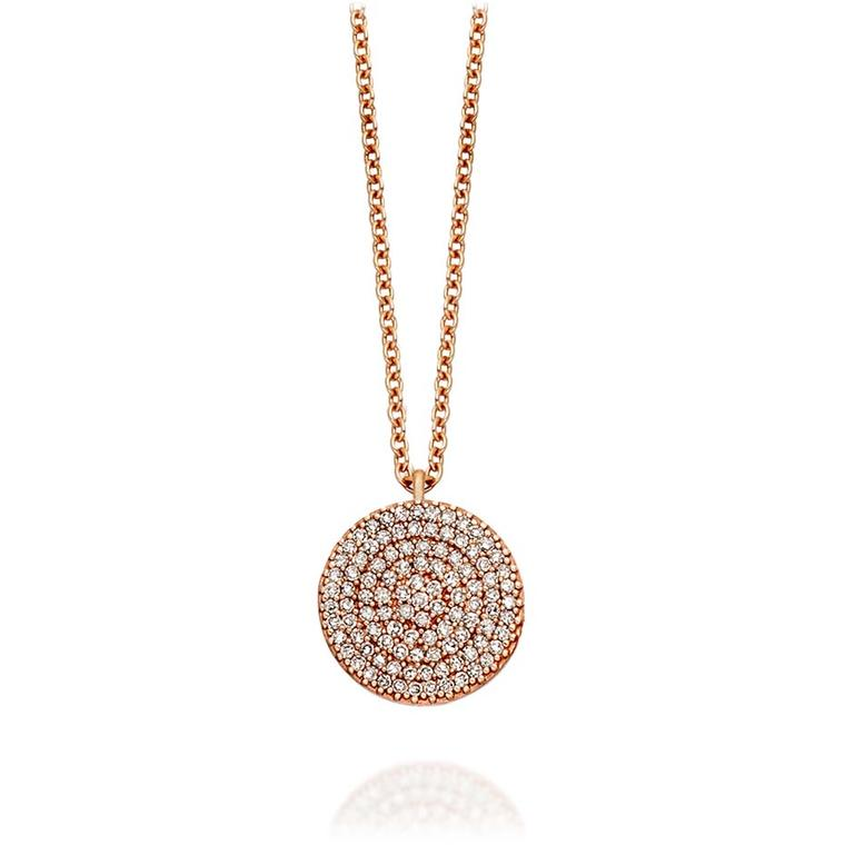 Astley Clarke Muse collection Icon necklace in rose gold with silver grey diamonds.