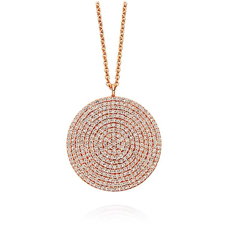 Astley Clarke Muse collection large Icon necklace in rose gold with silver grey diamonds, which has an open setting at the back to enable light to flow through.