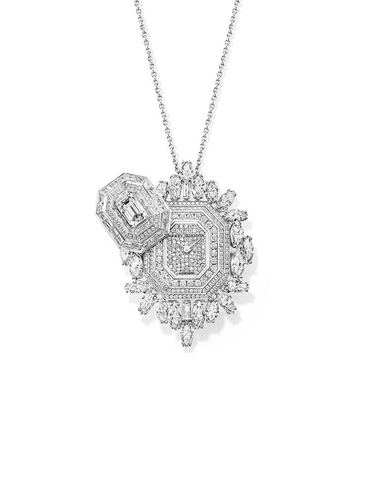 Harry Winston Ultimate Emerald Signature watch is a secret timepiece that doubles up as a pendant, brooch and wristwatch. The white gold case, shaped like an emerald-cut diamond, is covered with marquise, brilliant and baguette-cut diamonds including a 1.