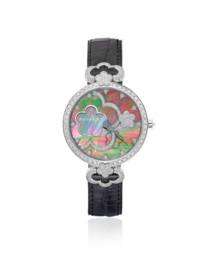 Boodles 37mm Blossom watch with a black mother-of-pearl dial and diamonds.