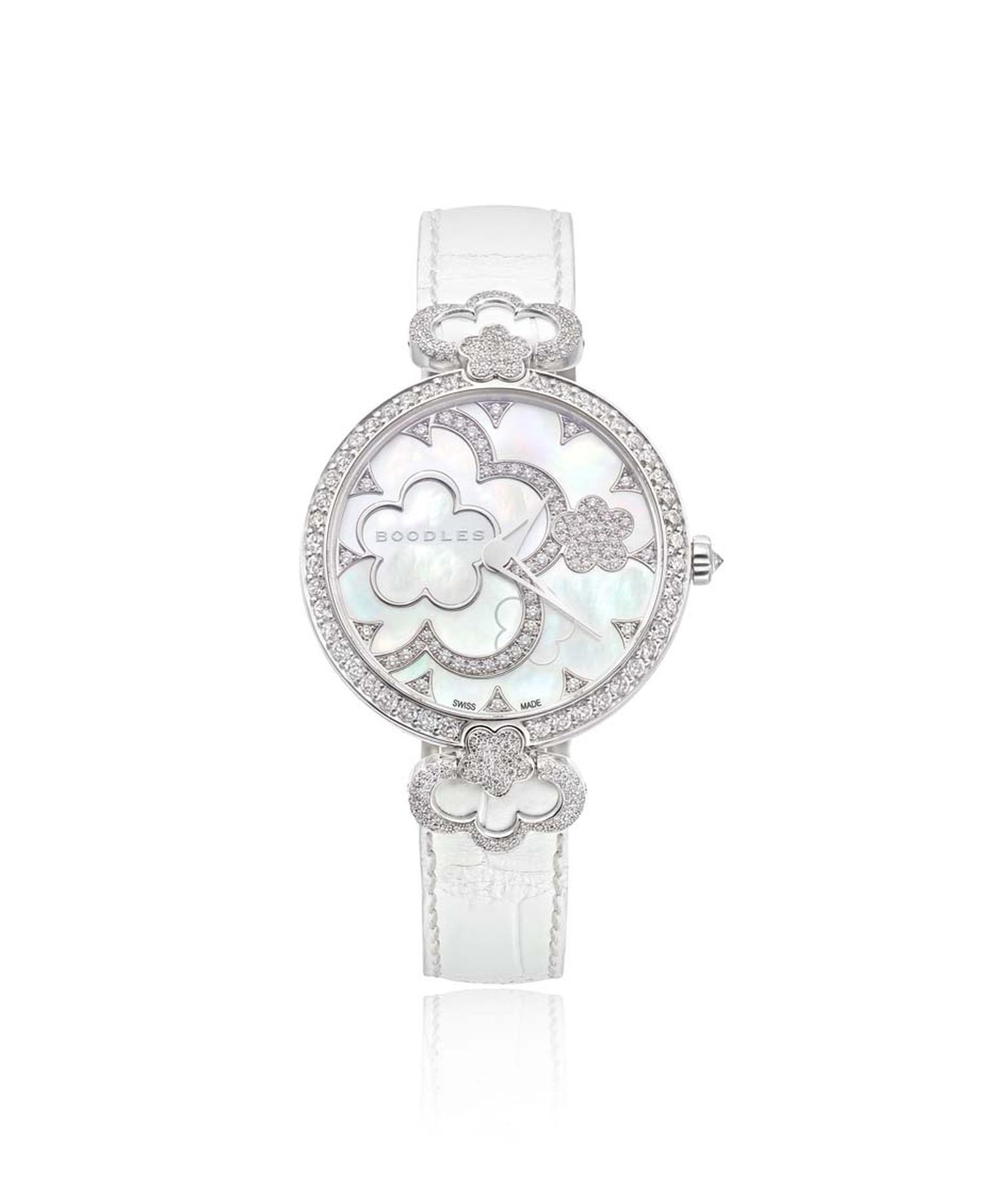 Boodles 37mm Blossom watch in white gold watch with a mother-of-pearl dial and diamonds.