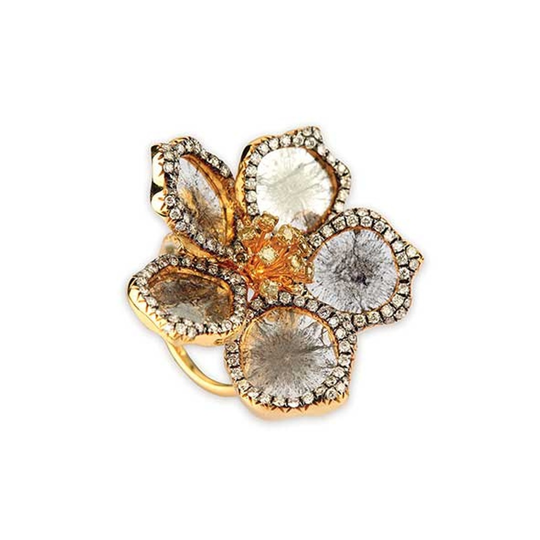 Golecha Floral cocktail ring with a combination of uncut and brilliant-cut diamonds.
