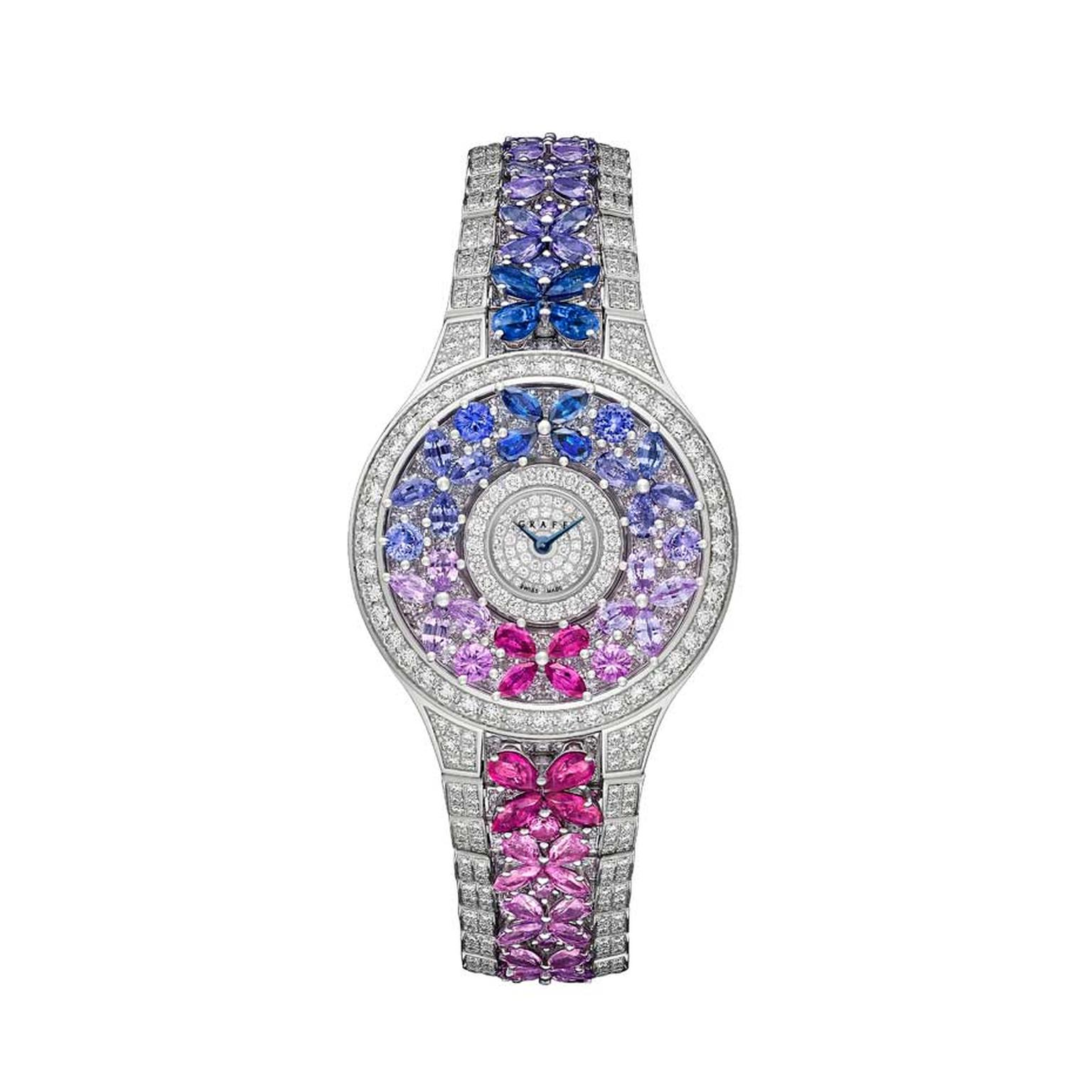 Graff Multi-Coloured Butterfly watch with diamonds, sapphires and rubies.