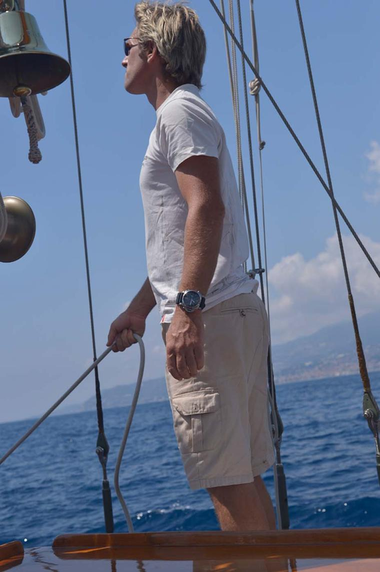 Andrew Cully, skipper of the ketch, Eilean. On Cully's wrist is a 47mm Panerai Luminor 1950 Regatta 3 Days Chrono Flyback Automatic, a watch dedicated to the life that Cully, his crew and Panerai's CEO Angelo Bonati live at sea.