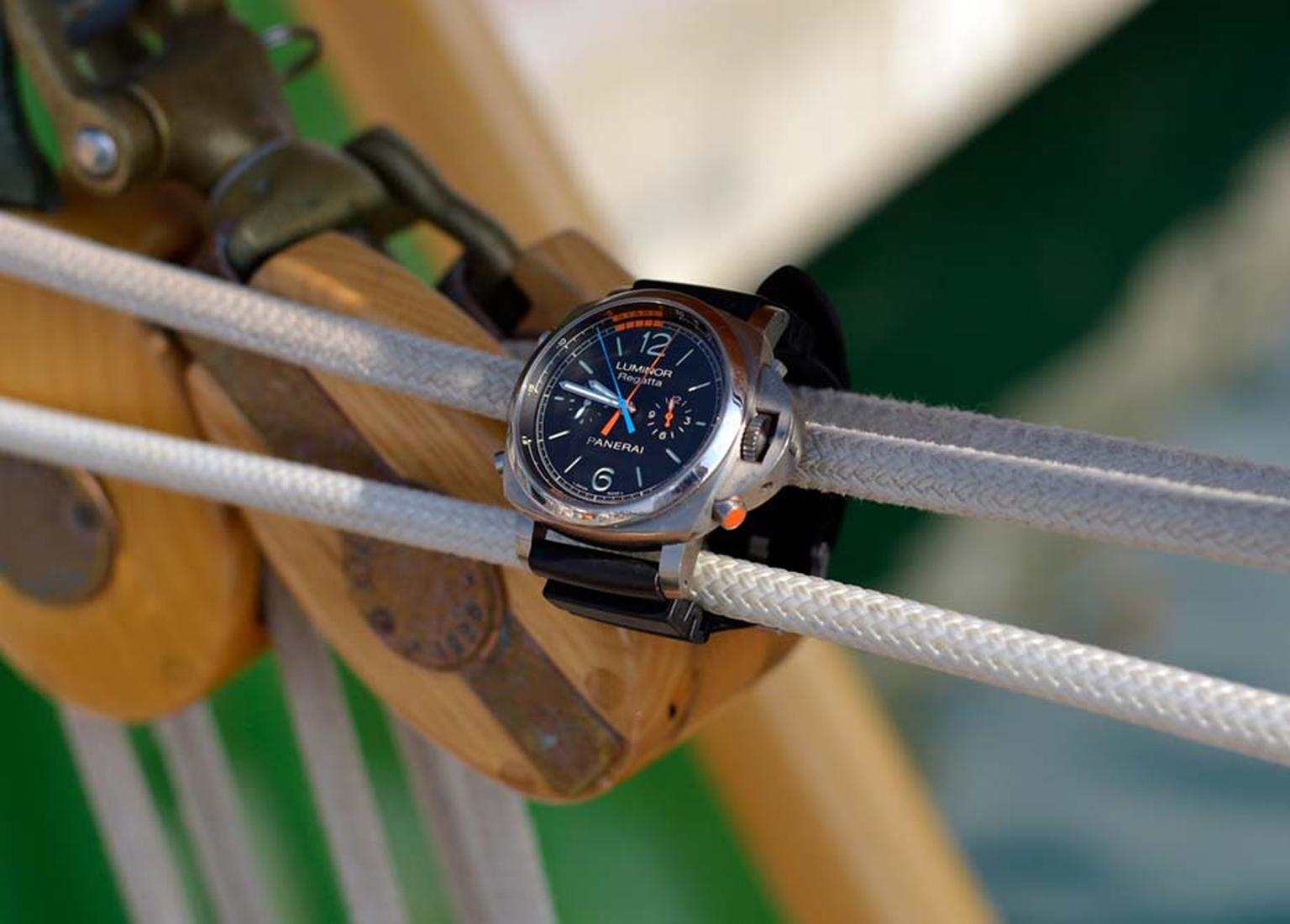 A sailor's best mate, the Panerai Luminor 1950 Regatta 3 Days Chrono Flyback Automatic watch, includes a handy tachymeter scale to gauge the speed of your wake in nautical knots.