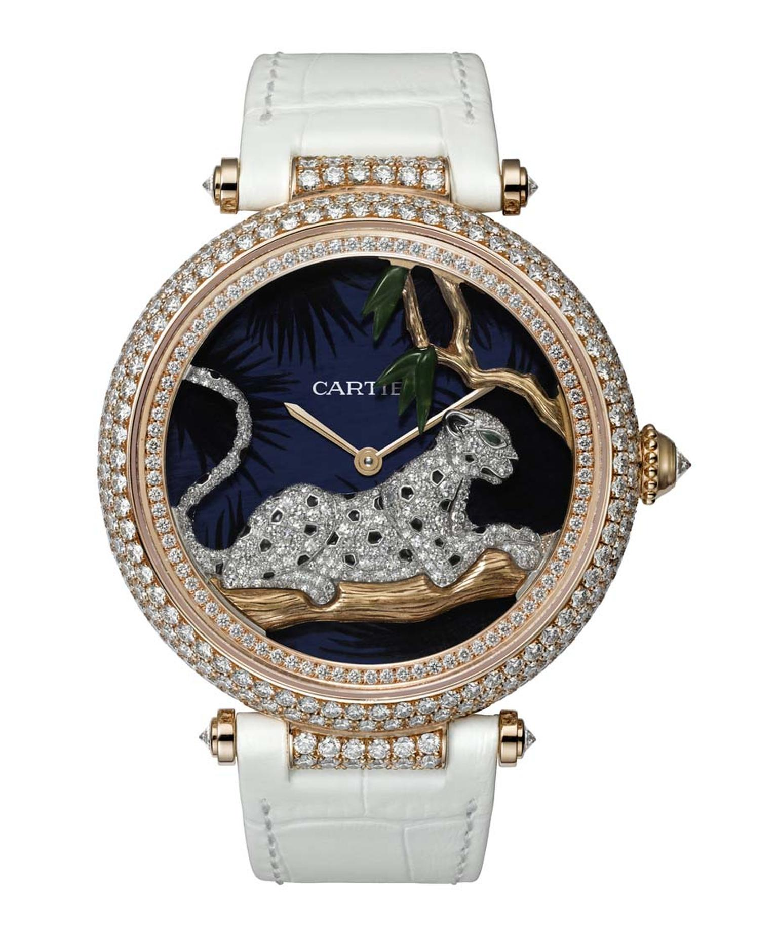 Cartier's Panthère au Claire de Lune watch, decorated with 395 brilliant-cut diamonds, is equipped with a movement that allows the big cat to sway gently back and forth across the dial in time with the rotor.