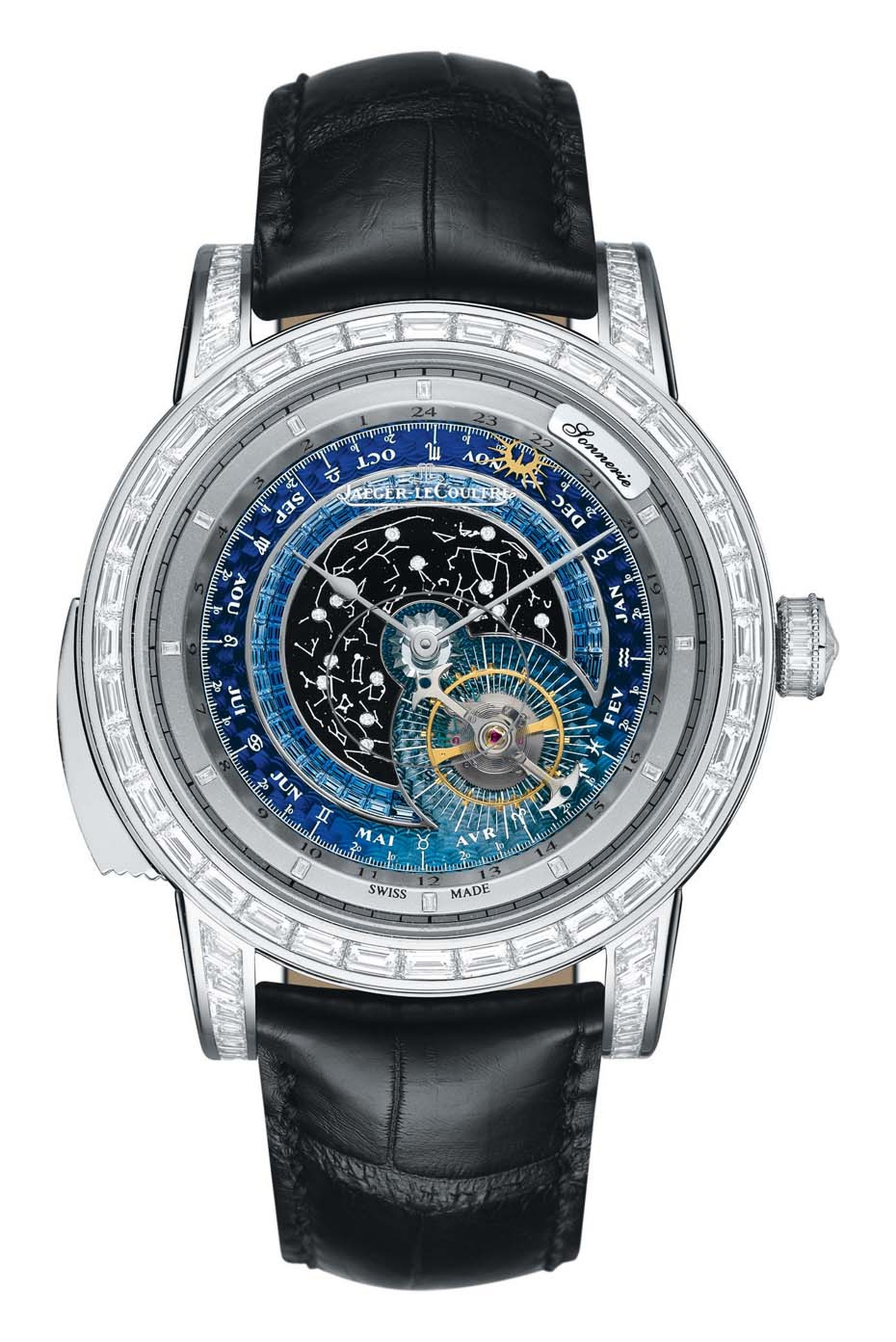 Jaeger-LeCoultre's Master Grande Tradition Grande Complication watch features three complications.  Reproducing the movements of the Earth relative to the Sun and stars, the guilloché dial represents a sky chart and zodiacal map.