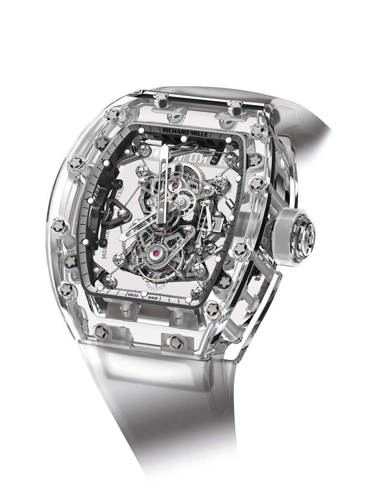Richard Mille's $2 million dollar RM56-02 Sapphire Tourbillon features a transparent case made from sapphire crystal so that every last screw is on view, including the cable-suspended movement featured in Rafael Nadal's RM27-01 watch.