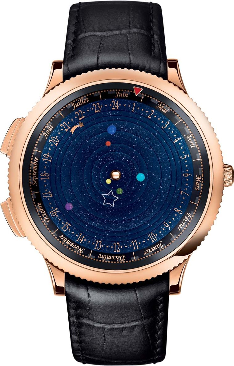 Van Cleef & Arpels' Midnight Planétarium watch features an aventurine dial with six tiny spheres representing six planets that rotate at different speeds, with Saturn taking 29 years to complete its rotation.