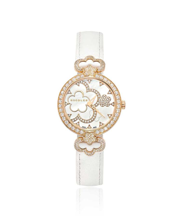 Boodles 28mm Blossom watch in rose gold with diamonds and a mother-of-pearl dial.