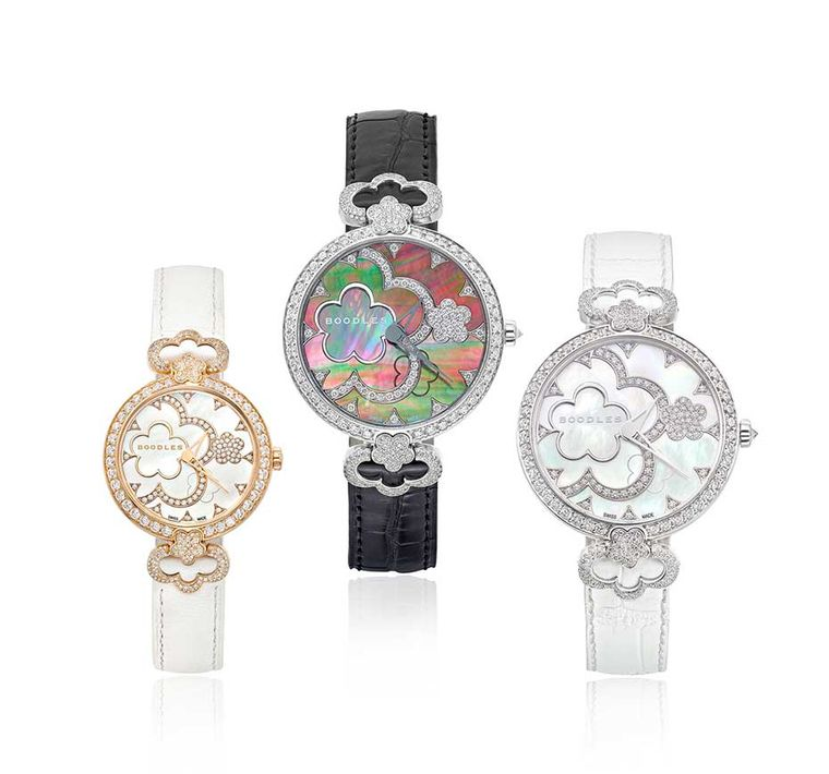 The new Boodles Blossom watches come in a 37mm model set with 403 diamonds totalling almost 3.00ct and a smaller 28mm version set with 350 diamonds weighing almost 2.00ct.