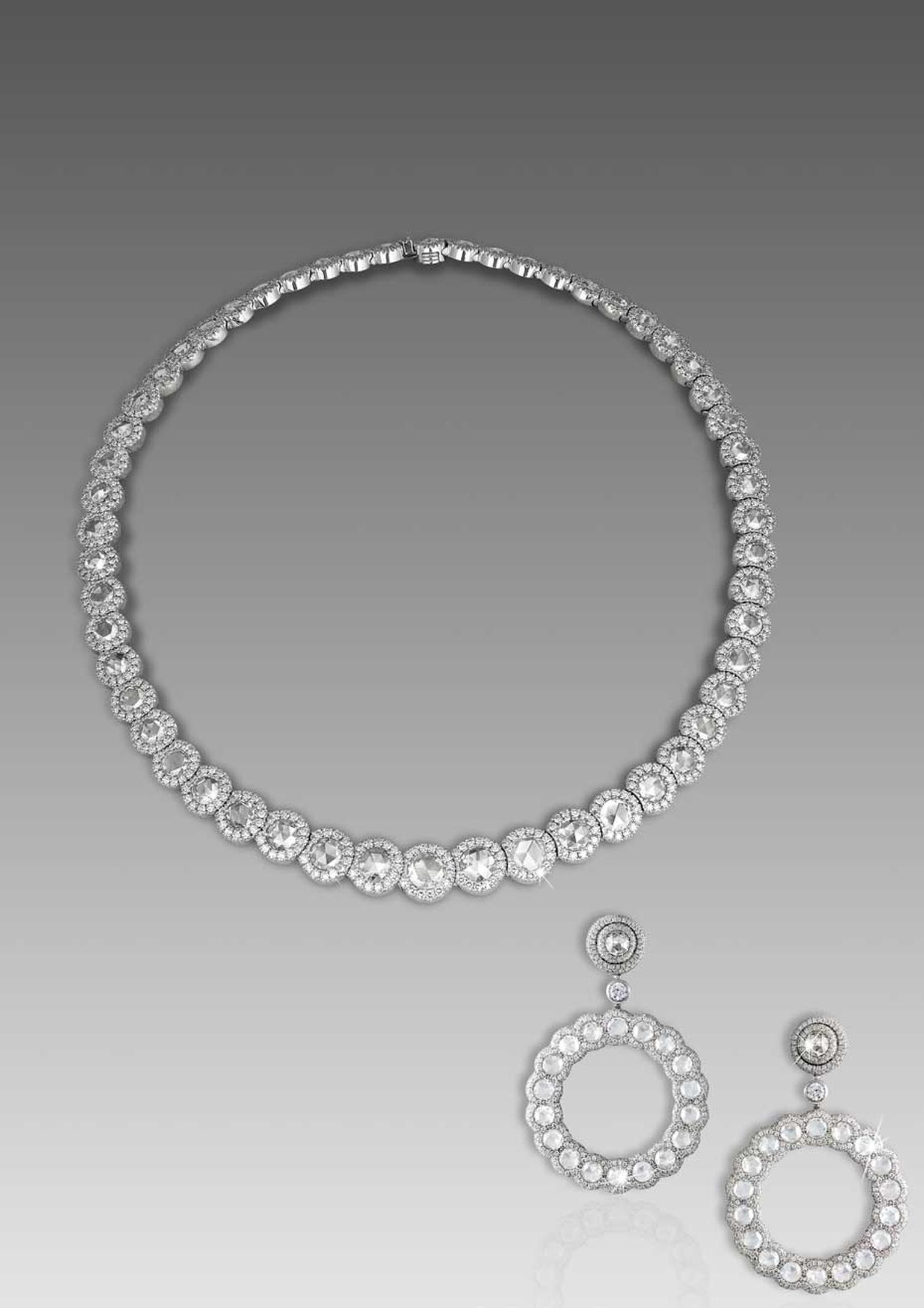 David Morris Rose-cut collection diamond necklace and earrings with rose-cut diamonds, set in white gold.