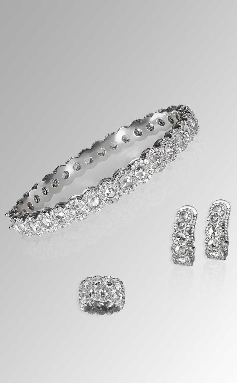 David Morris Rose-Cut collection diamond bangle, three-row eternity band and diamond hoop earrings with rose-cut diamonds, all set in white gold.