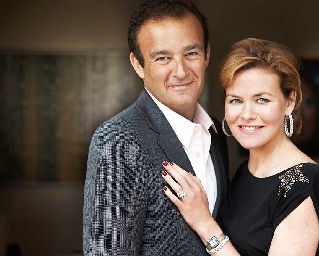 Jeremy and Erin Morris with Erin wearing her David Morris Rose-Cut wedding band, which inspired the Rose-Cut collection, Rose-Cut diamond hoop earrings and a Rose-Cut diamond bangle.