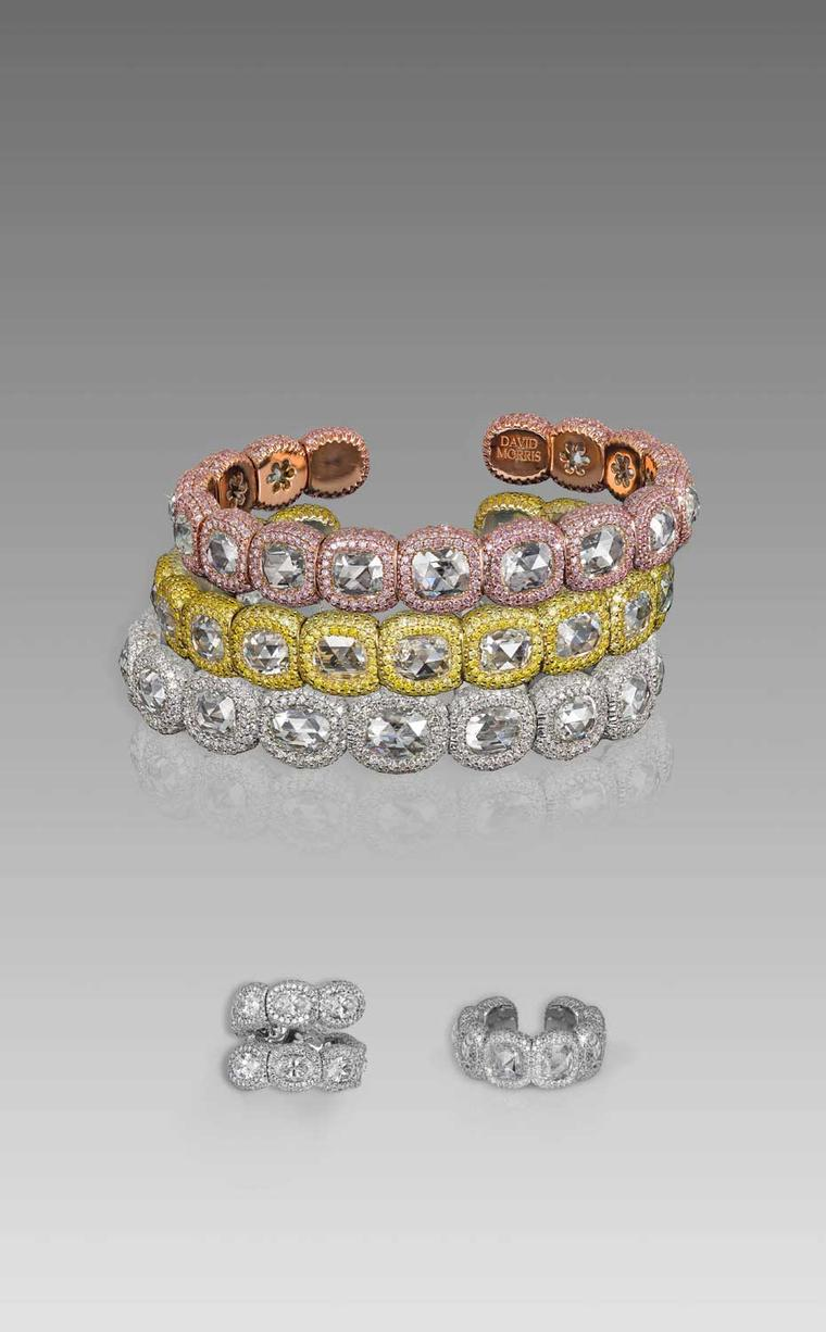 The newest jewels in David Morris' Rose-Cut collection include bangles and rings in either white gold with white micro-set diamonds, yellow gold with yellow micro-set diamonds, or rose gold with pink micro-set diamonds, all set with rose-cut diamonds.