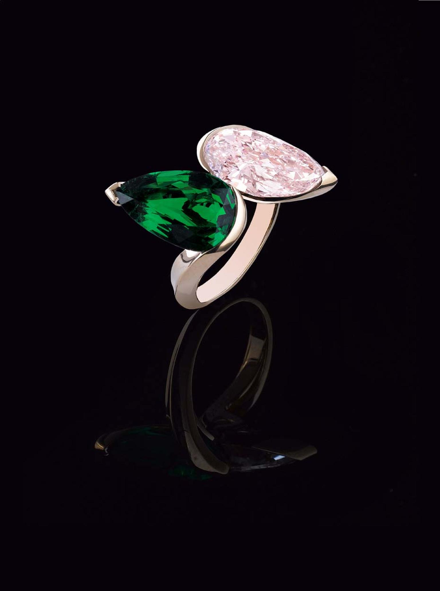 Alexandre Reza Toi & Moi pink gold ring featuring a 5.04ct Fancy Pink, internally flawless, pear-shaped diamond alongside a bright green Zambian emerald.