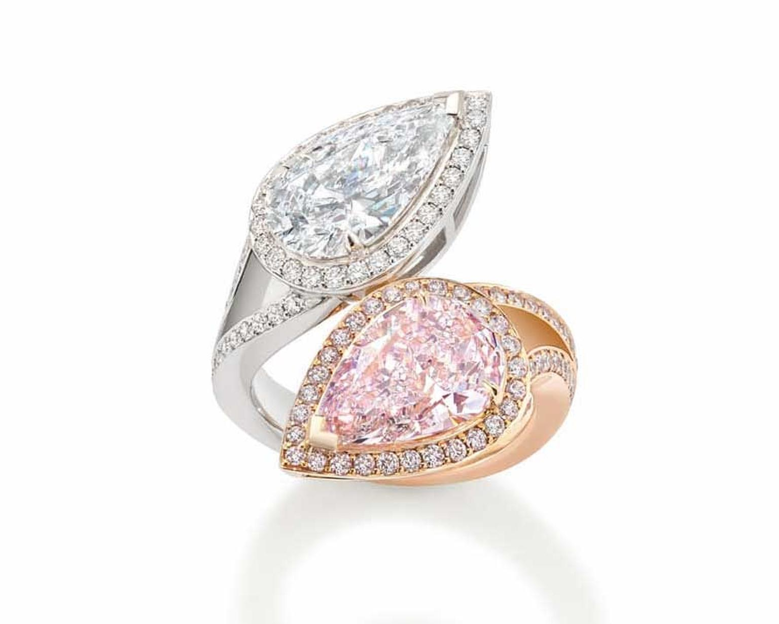 Boodles Gemini ring set with a natural light pink pear-shaped diamond, mirrored by a D colour white diamond.
