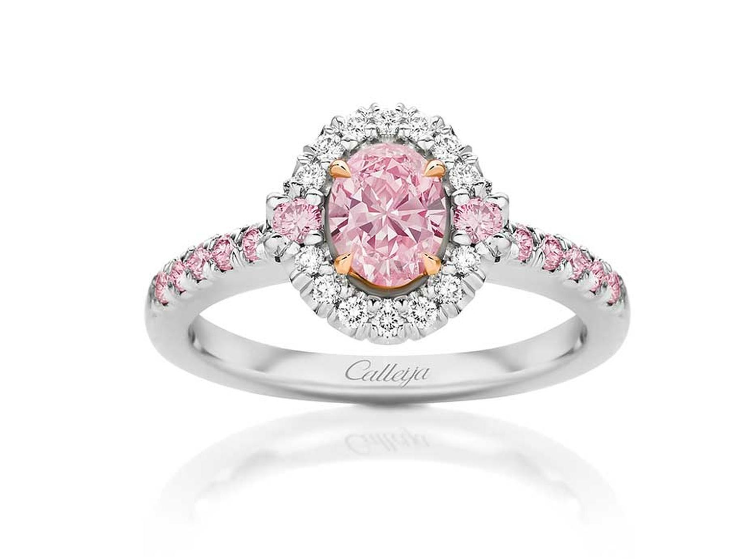 Calleija Elyssa brilliant-cut Argyle pink diamond ring surrounded by white and pink pavé diamonds.