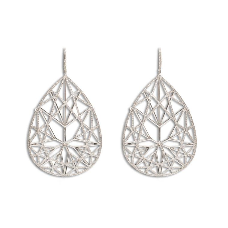 Jack Vartanian Brilliant earrings lined with diamonds.