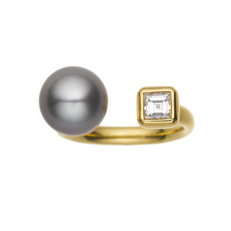 Jemma Wynne Prive gold open ring with a grey Tahitian Pearl opposite a square diamond. Available at Ylang23.com.