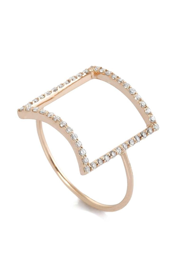 Kismet by Milka gold ring with an open diamond square.