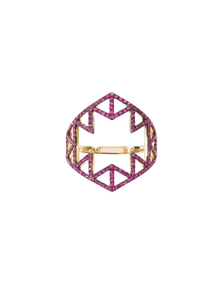Lito plays with both negative space and geometric shapes in the Izel gold and ruby ring.