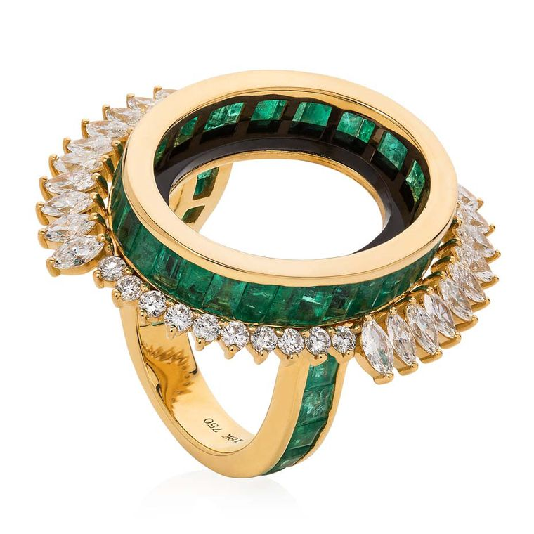 Leyla Abdollahi Lust & Lure collection ring in yellow gold with baguette-cut emeralds, onyx and white diamonds gently flaring out from the open circle.