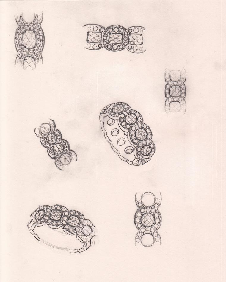 Sketches of the original David Morris Rose-Cut ring, designed as a wedding band by Jeremy Morris, second generation of the London jewellery family, for his wife Erin exactly a decade ago.