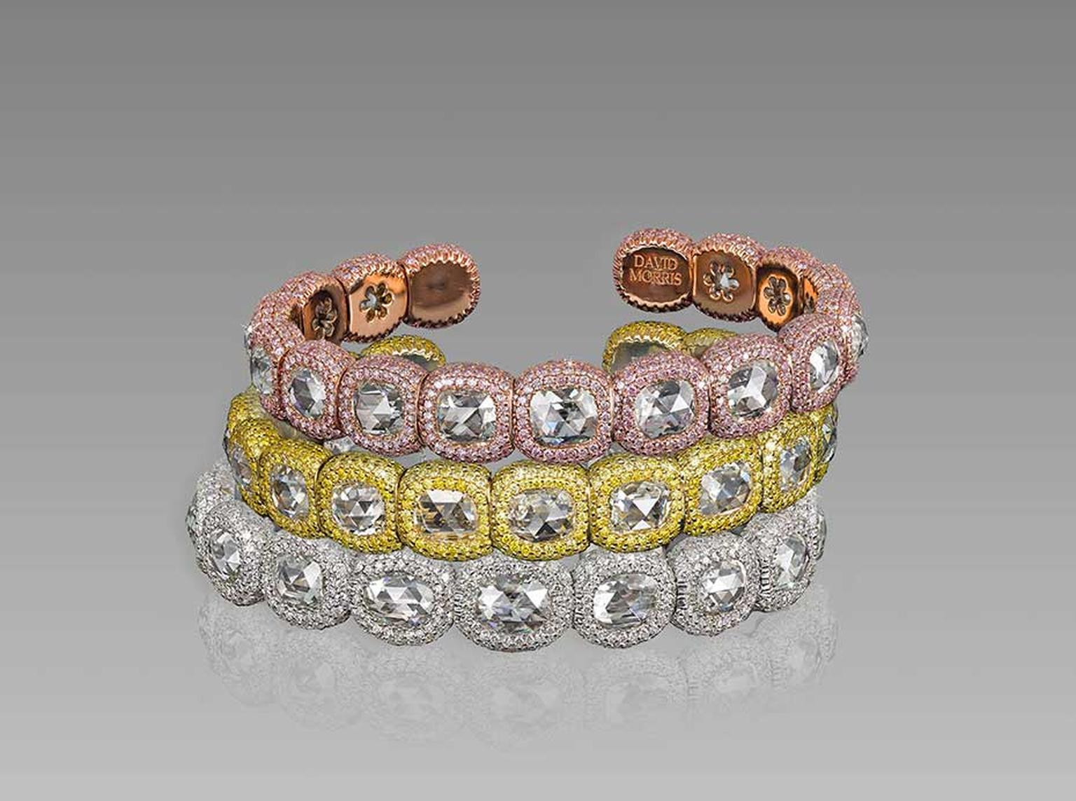 Colourful new bracelets in the David Morris Rose-Cut collection with pavé pink and yellow diamonds surrounding rose-cut diamonds.