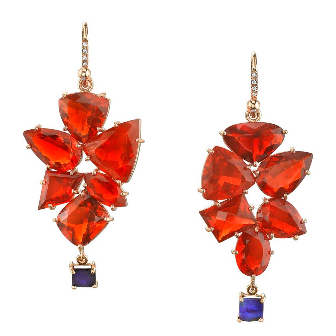 One-of-a-kind Irene Neuwirth earrings in rose gold with Mexican fire opals and Boulder opal drops.