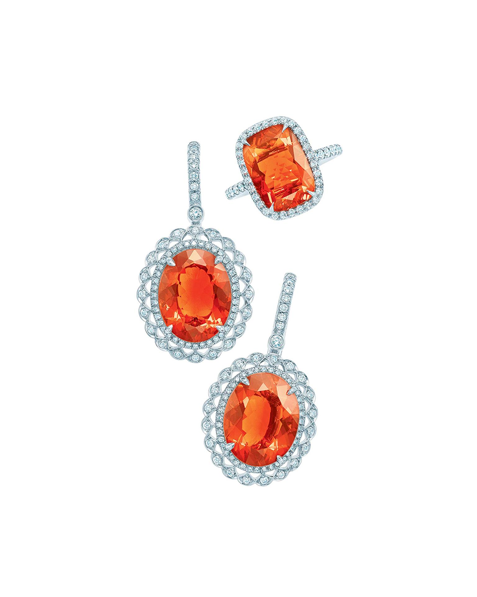 Tiffany & Co. Blue Book Collection fire opal earrings and ring with diamonds set in platinum.