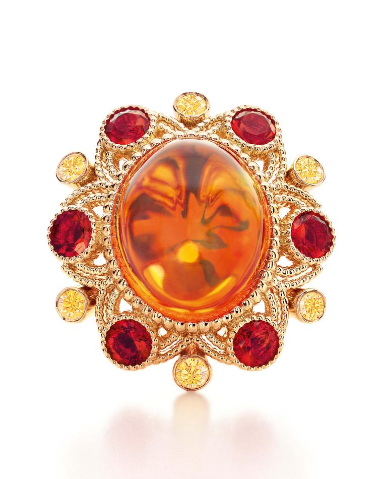 Tiffany & Co. Blue Book Collection ring in gold with a 10.54ct cabochon fire opal, yellow diamonds and smaller faceted fire opals.