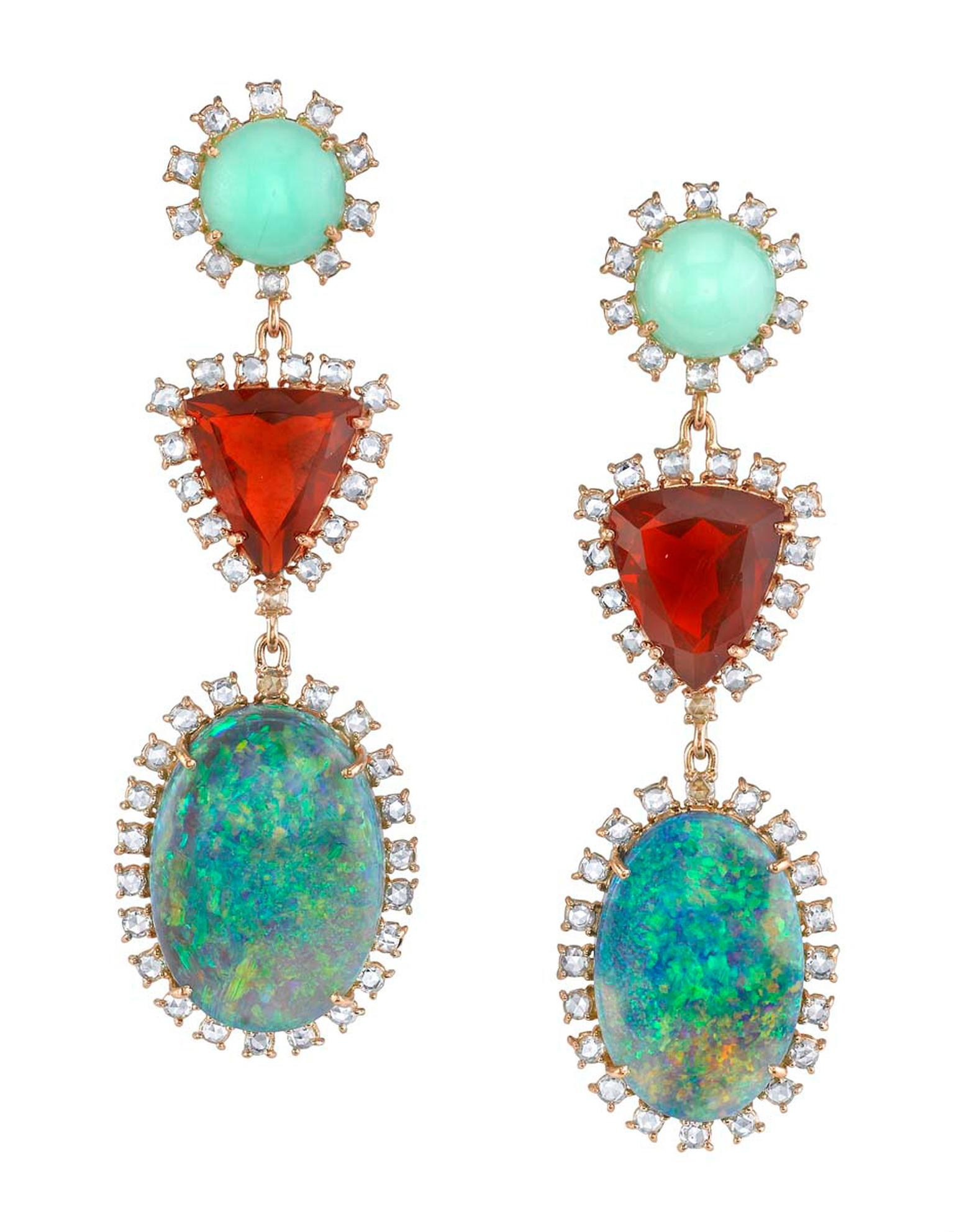 One-of-a-kind Irene Neuwirth earrings in rose gold with mint chrysoprase, Mexican fire opals, Lightning Ridge opals and rose-cut diamonds.