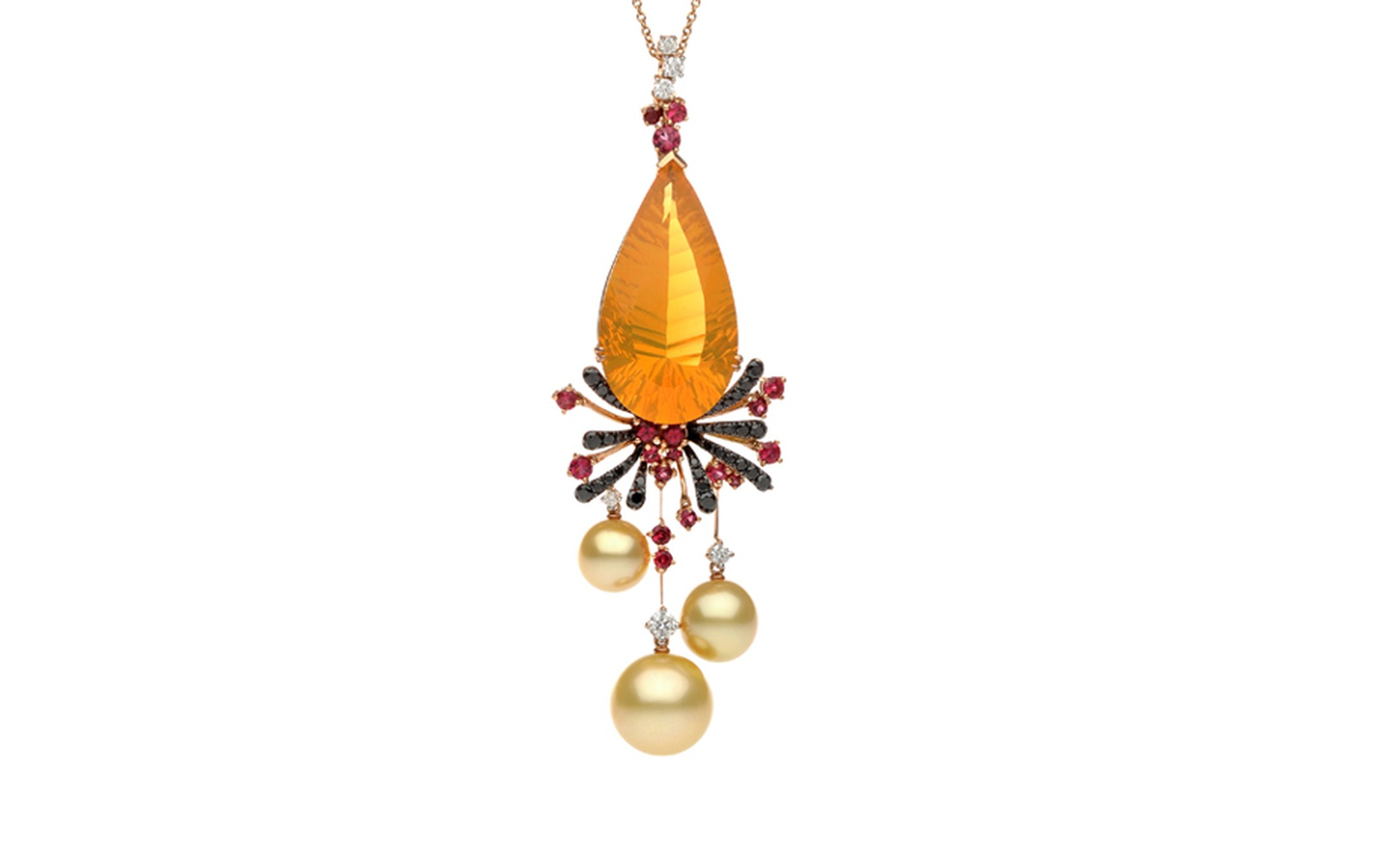 Autore, Fire & Ice Fiery Lava rose gold, South Sea pearl, red spinel, fire opal, and black and white diamond necklace. $65,000 AUD.