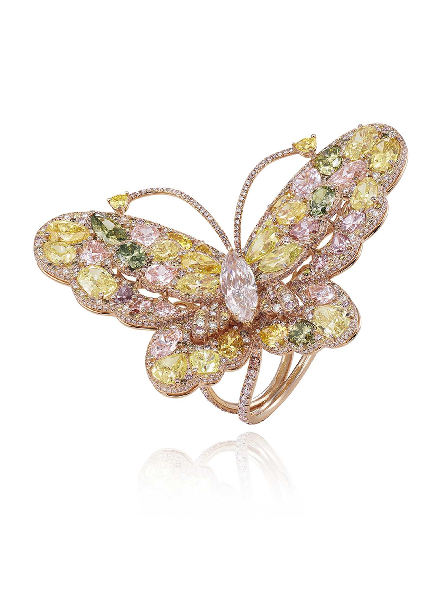 Chopard 2014 Red Carpet Collection rose gold butterfly ring featuring pink, yellow and white diamonds.