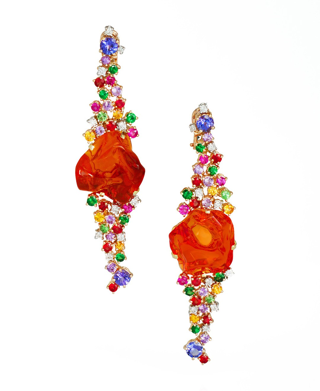 Mauro Felter Path of Flowers yellow and white gold earrings featuring fire opals, rubies, tanzanite, tsavorite, multi-colour sapphires and diamonds.