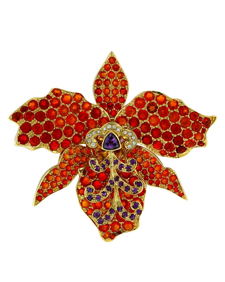 Paula Crevoshay Orchid brooch with fire opals, amethysts and diamonds.