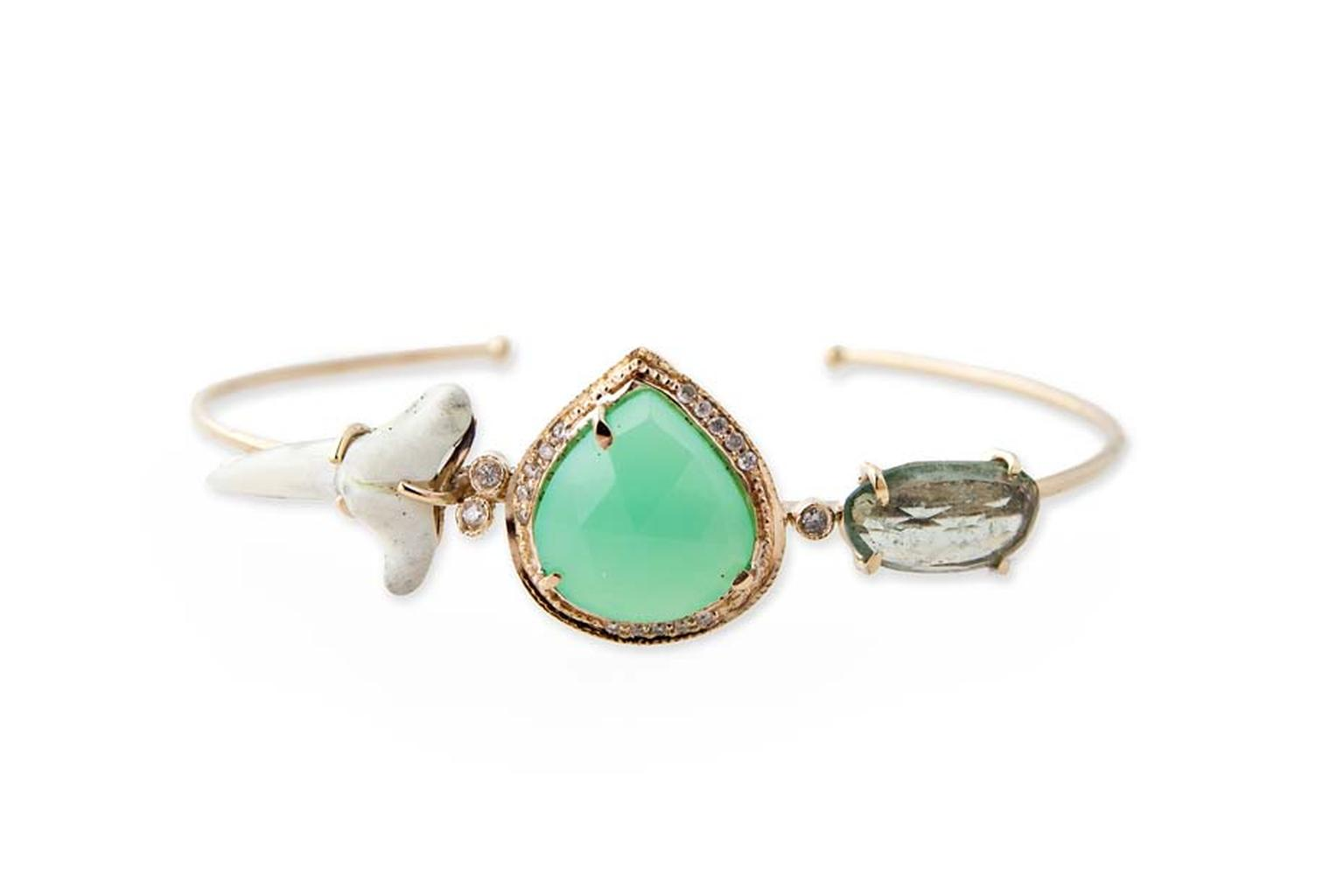 Jacquie Aiche bracelet with pavé diamonds, chrysoprase and natural shark tooth.